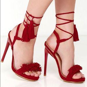 Steve Madden red fringe lace up heels Size 6